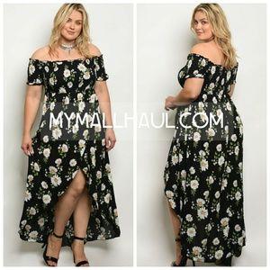 plus size sunflower print maxi dress Boutique